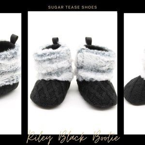 COPY - Riley Pink and White Faux Fur Baby Bootie Slippers